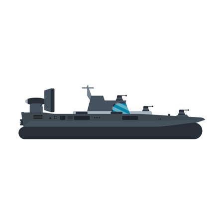 Navy hovercraft side view vector icon illustration. Boat sea transport water vessel speed. Isolated marine motor flat future carrier engine 向量圖像