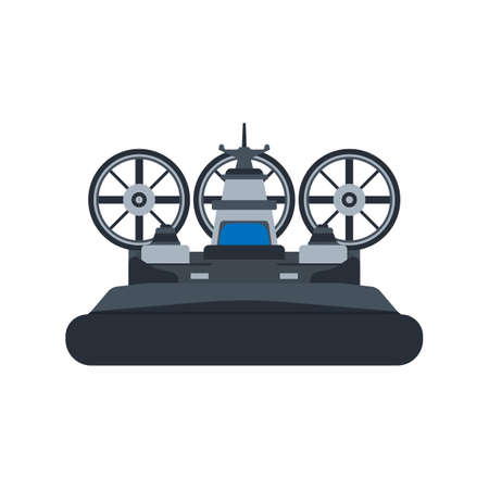 Navy hovercraft front view vector icon illustration. Boat sea transport water vessel speed. Isolated marine motor flat future carrier engine 向量圖像