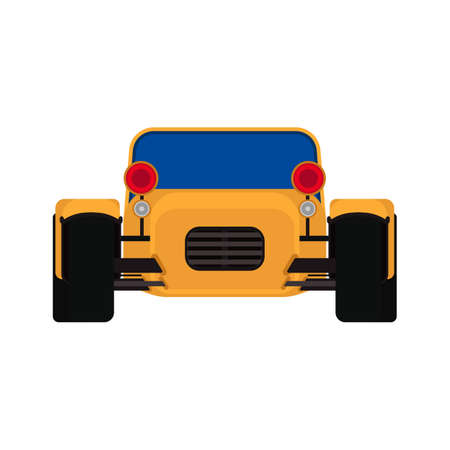 Sport yellow car front view vector transportation. Speed vehicle race power concept. Expensive model cartoon flat retro exotic hybrid garage