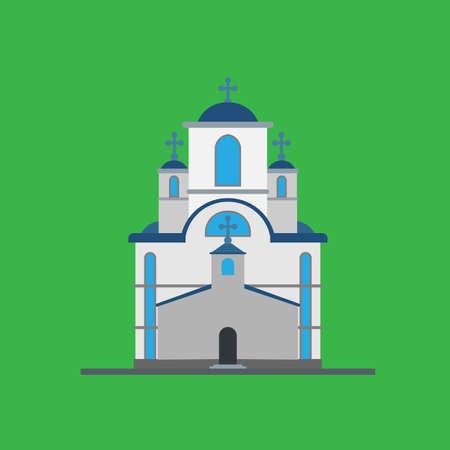 Church architecture building christian illustration vector catholic design. Chapel god religion icon concept house place. Tower exterior jesus