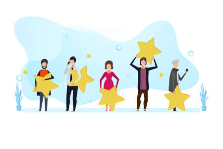 Customer review rating vector feedback banner. Top business clent women and men concept. Best good star success. Survey character evaluation experience vote online. Quality five like appreciation Illusztráció