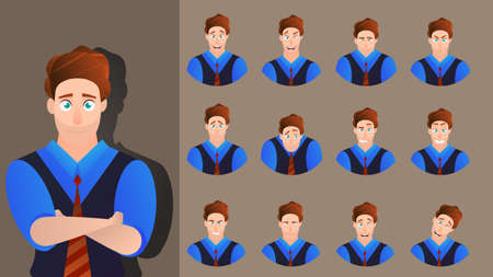Character cartoon expression vector set emotion face. Illustration man avatar different facial collection. Businessman design happy, angry, cheerful, smile, sad. Comic emoji kit creation human male