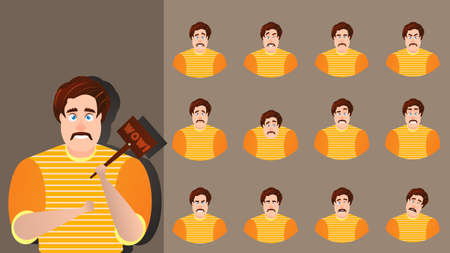 Character cartoon expression vector set emotion face. Illustration man avatar different facial collection. Businessman design happy, angry, cheerful, smile. Comic emoji kit creation fat human male