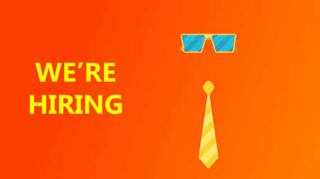 Hiring job vector illustration recruit concept background with tie, glasses. Hire career design vacancy corporate banner. Candidate fair team message business. Now employment advertisement opportunity