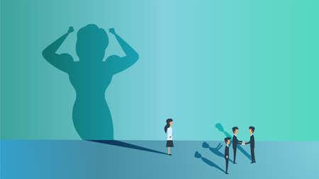 Aspiration career creative motivation ordinary super shadow. Woman potential superhero business concept vector. Success achievement growth challenge illustration. Female target office dream work idea Illusztráció