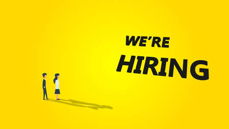 Were hiring business vector illustration background. Job career recruitment concept banner work. Text message wanted  now team. Opportunity human company vanacy hr candidate join. Promotion poster