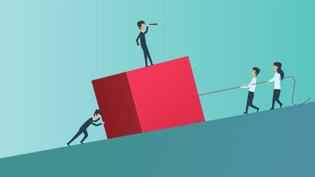 Business teamwork person vector illustration concept. Success team ambition man and woman uphill cube. Office group partnership company. Leader businessman work cooperation together. Union job human