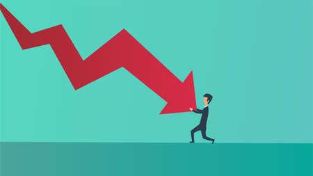 Businessman bankrupt recession loss business vector concept illustration. Man pushed red arrow downward. Failure pressure market cut crisis. Economy debt fall rate. Risk investment currency price Illusztráció
