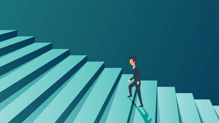 Success career businessman concept background. Future ambition growth personal motivation. Man climb in stairs step on business. Vector illustration job challenge promotion. Coach work target high up. Illusztráció