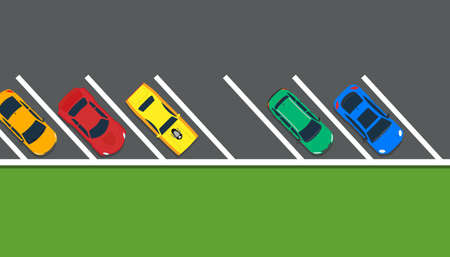 Park car vector illustration top view lot road. Above carpark garage street sign concept. Free space auto traffic place. Vehicle urban line zone area public. City cartoon banner freeway route