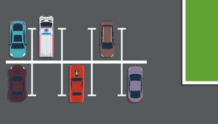 Park top view vector concept illustration background. Above car street map flat road city. Garage design many lot space downtown. Vehicle free slot traffic place. Carpark area zone set empty