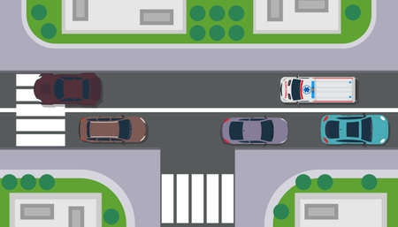 City top view building map vector landscape. Road with car, tree, roof, grass. Sidewalk flat traffic urban pedestrian. Highway illustration town intersection crossroad. Scene way vehicle metropolis