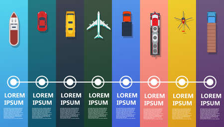 Transport infographic top view vector. Flat bus, ship, truck, train, plane, helicopter, car. Road icon business industry travel map. Set info traffic commercial freight delivery. Cargo logistic goods