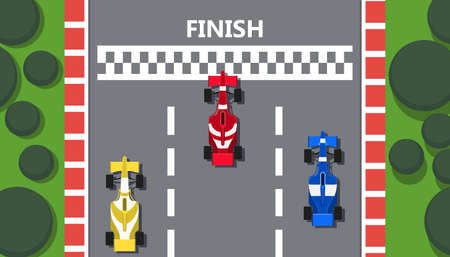 Race track car top view vector line road illustration background. Rally prix sport poster team. Red formula flyer competition finish. Grand winner vehicle speedway auto. Highway championship