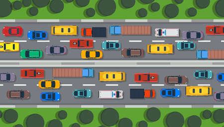 Traffic road vector top view highway city car. Street flat vehicle map infographic lane illustration. Transport control urban. Truck travel direction line concept. Roadside speedway trip route