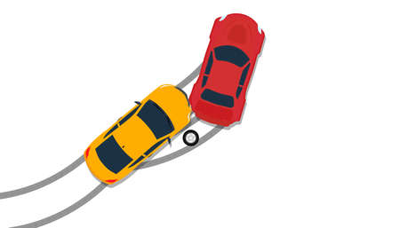 Car crash accident top view vector insurance illustration. Down broken claim automobile isolated icon. Flat driving street hit collision traffic. Wreck disaster smash crush. Safety concept  イラスト・ベクター素材