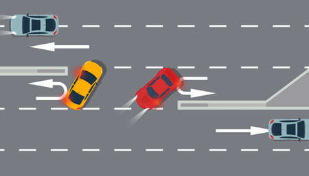 U turn car red and yellow top view vector illustration traffic road. Sing arrow transportation highway background direction. Vehicle way design travel information street. Freeway attention rule lane