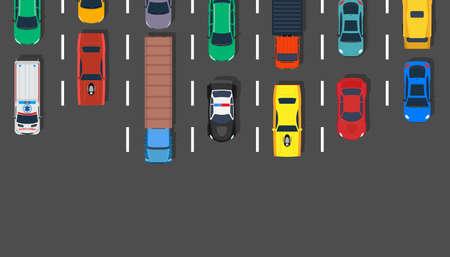 Traffic jam car top view vector illustration road. Lot street city aerial asphalt design highway. Transportation background travel urban. Busy hour line concept stuck truck. Freeway transit metropolis Illusztráció