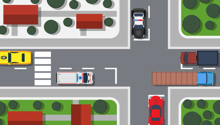 Crossroad top view vector illustration building map. City car game landscape traffic urban. Pedestrian background transport highway. Intersection town plan avenue. Freeway travel driving concept