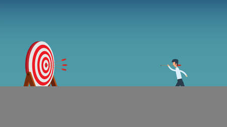 Objective mission business future challenge vector illustration. Growth motivation aim target arrow. Throw opportunity man goal concept. Businessman strategy vision ambition. Analysis value company