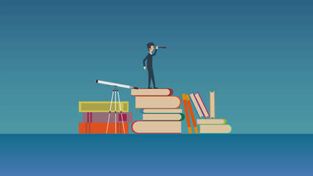 Future teaching vector concept illustration. Learning education book knowledge school training. Person course study university online. Distance college library classroom. Banner network exam service Illusztráció
