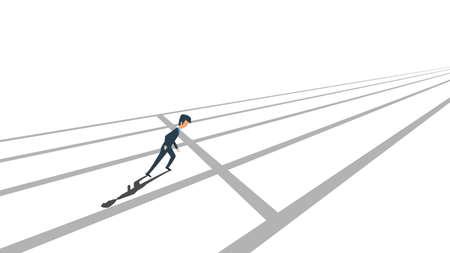 Business competition vector concept illustration. Businessman challenge success background. Race corporate team winner. Progress rivalry motivation direction. Office fight job character Illusztráció