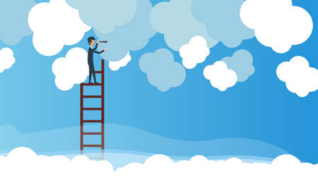 Business vision vector concept illustration leadership with ladder and telescope in cloud. Future businessman opportunity career. Solution strategy direction. Man looking in sky standing. Target way 向量圖像