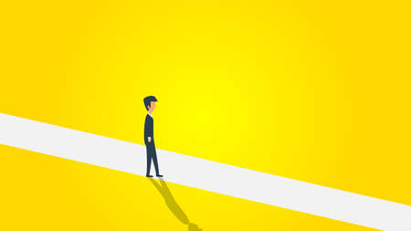 Business new opportunity vector progress career. Minimalist man cross line illustration. Concept courage success background future. Leadership challenge job chance. Search direction work banner