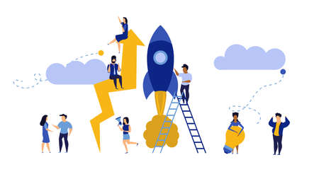 Business analytics in cloud arrow vector leadership company. People challenge teamwork up. Flat job marketing concept illustration. Growth with rocket investment service. Man and woman trend result Illusztráció