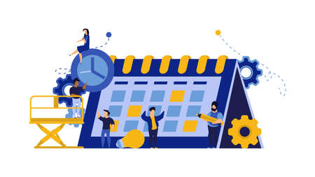 Calendar schedule week vector concept illustration. Student appointment employee agenda man and woman. Business plan with clock,pencil. Date time meeting day. Coworker banner office teamwork assign Illusztráció
