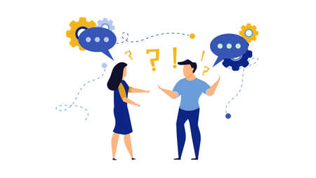 Business people social dialogue man and woman. Speech bubble chat goal discuss person vector illustration character concept cartoon. Communication talk background. Group connection language banner