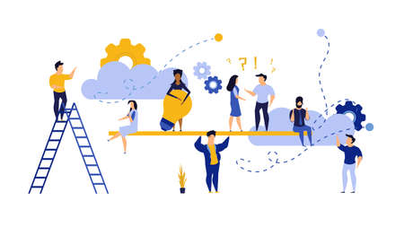 People teamwork idea vector illustration. Business work balance exercise harmony. Time investment concept background. Team mind man and woman group banner office. Career company success coworker Illusztráció