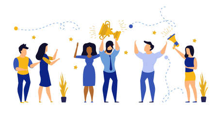 Business people winner prize customer vector illustration employee. Man and woman celebration first quality rank. Office people reward cup trophy up success. Award leader victory goal challenge Illusztráció