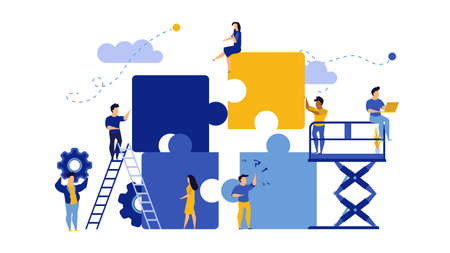 Business team work building puzzle concept vector illustration. People partnership man and woman challenge marketing corporate goal. Jigsaw piece cooperation character. Office banner unity part object Illusztráció