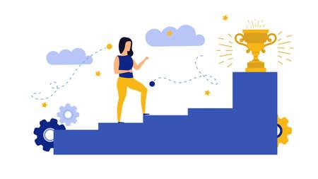 Achievement target career challenge vector flat illustration. Woman kpi walking steps to gold cup. Job journey business success leader ambition. Goal progress up climbing performance banner