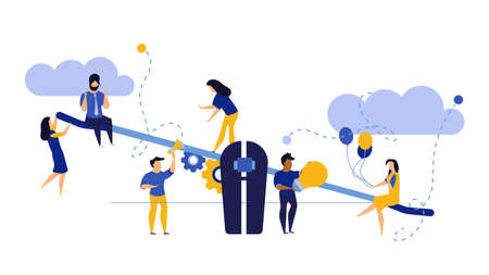 Comparison employee business people vector illustration. Advocate person unbalanced weight. Woman and man on swing outweigh concept idea design. Solution choice value human. Problem banner job team