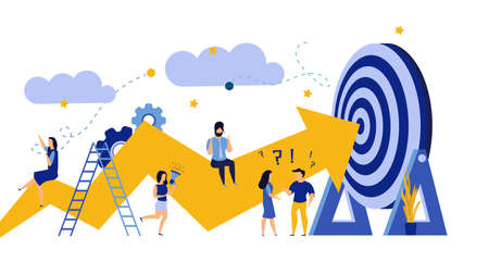 Business progress man and woman vector success challenge employee. Journey job target action career illustration. Review finance work plan concept flat marketing promotion. Arrow growth up banner goal