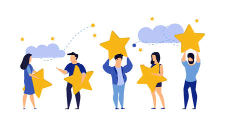 Customer review five star choice vector illustration satisfaction man and woman. Concept business success feedback good quality service. Best rate background experience vote client banner. Award like Illusztráció