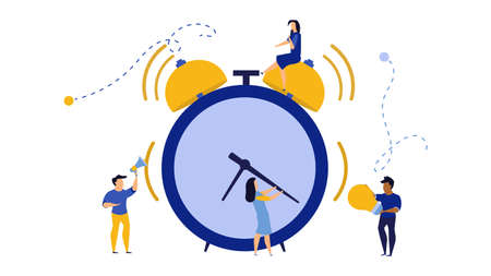 Morning time for business people work icon. Man and woman concept vector illustration flat office banner. Schedule planner date clock event. Deadline team alert bell problem network stress