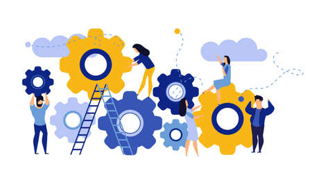 Man and woman business organization with circle gear vector concept illustration mechanism teamwork. Skill job cooperation coworker person. Group company process development structure workforce banner Illusztráció