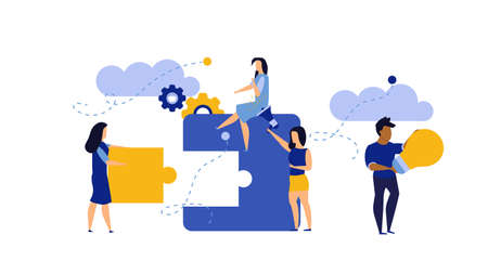 Man and woman create business puzzle vector concept illustration work. Concept piece idea teamwork jigsaw design. Solution cooperation challenge connect. Banner solve goal office strategy