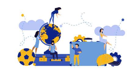 Challenge journey man and woman vector concept illustration with suitcase,ball,cap. Business achievement career success goal. Target aim direction way. Travel motivation job banner. Trekking adventure