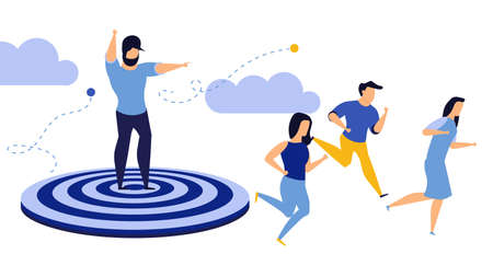Goal employee man and woman business action target. Run to journey concept vector illustration achievement. Success leadership background work. Challenge award aim direction banner. Timely ambition