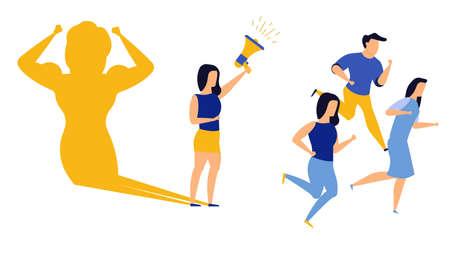 Business ambition leader woman vector illustration concept. Superwoman cape challenge leadership. Super shadow businesswoman success achievement. Career progress person goal. Motivation vision idea Illustration