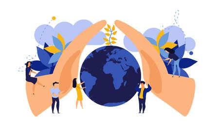 Ahorre el diseño plano del ejemplo del concepto del vector del día de la tierra. Naturaleza de la planta del medio ambiente de protección de la gente moderna. Negocio global del planeta de la naturaleza. Crecimiento de la mano con la ecología mundial del globo. Banner ecológico de hoja limpia Ilustración de vector
