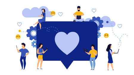 Social media like business feedback message vector. Networking internet people man and woman illustration. Concept follow heart love character repost marketing. User customer group background Illusztráció