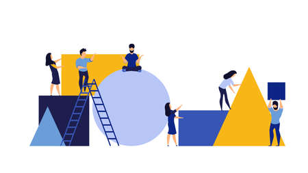 Organization partnership character create geometric puzzle man and woman. Business person vector illustration concept background. Teamwork building piece jigsaw shape. Connect basic block figure
