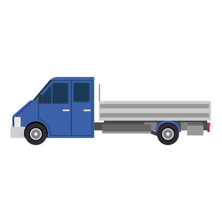 Blue truck car side view delivery flat icon isolated white illustration. Cargo transport business design freight vehicle. Commercial shipping van traffic symbol. Auto service logistic automobile Illusztráció