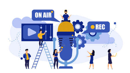 Radio music TV on air live rec interview people vector illustration. Hot news with mic broadcast sound communication studio. Male listen media headphone. Concept record online microphone business