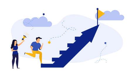 Success people step up on arrow vector promotion team business illustration concept. Successful businessman design background achievement victory celebration career. Award leader target future